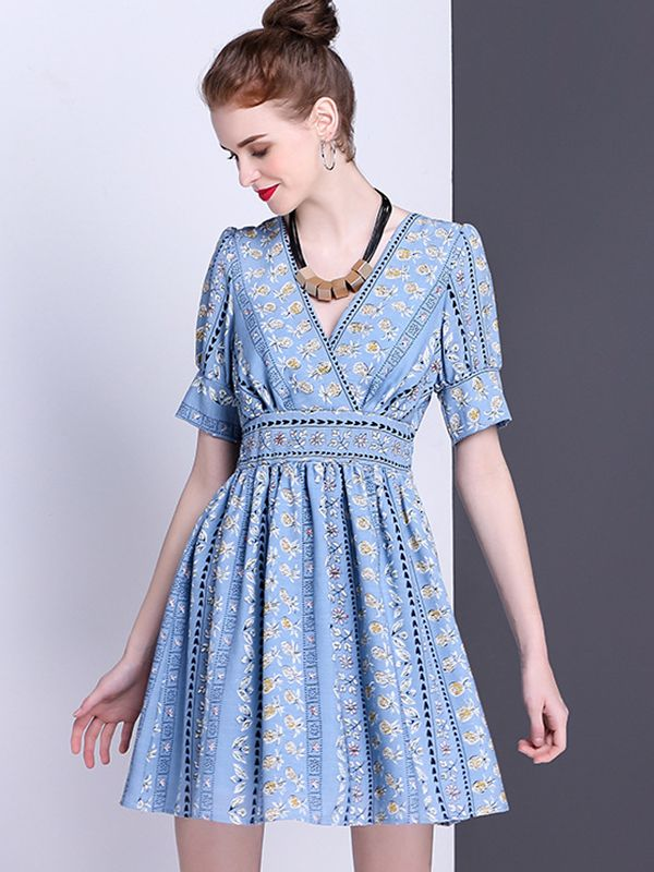 Blue Floral Printed High Waist Skater Dress