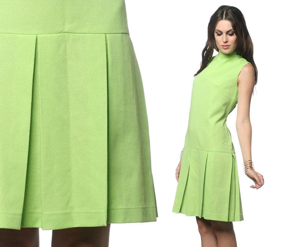 S scooter dress mod mini pleated s lime green drop waist