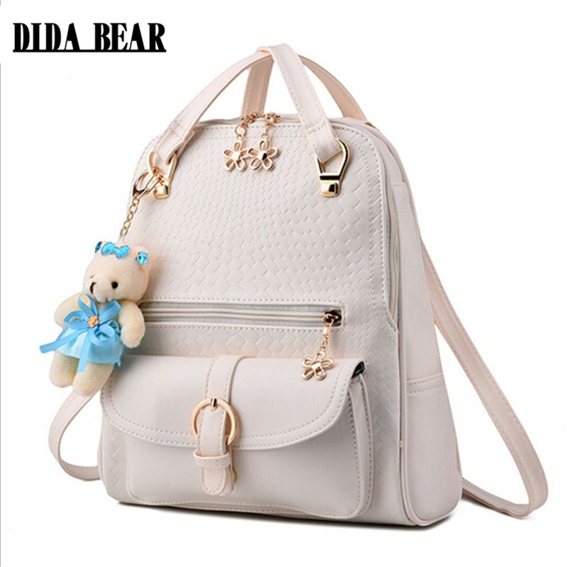 9ffd0bd4494e DIDA BEAR Women Backpacks Bolsas Mochila PU Leather Solid Candy Colors Girls  School Bags Femme Sac A Dos Black Beige Pink Blue