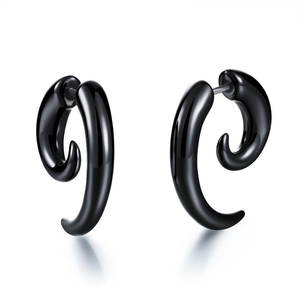 Black Acrylic Clip Earrings Fake Cheater Twist Spiral Ear Taper Gauge Expanders Earring Tunnel Plugs Piercing