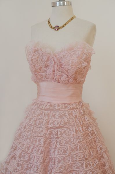 1950's Strapless Vintage Pink Lace Prom Dress, Fairytale Tiered ...