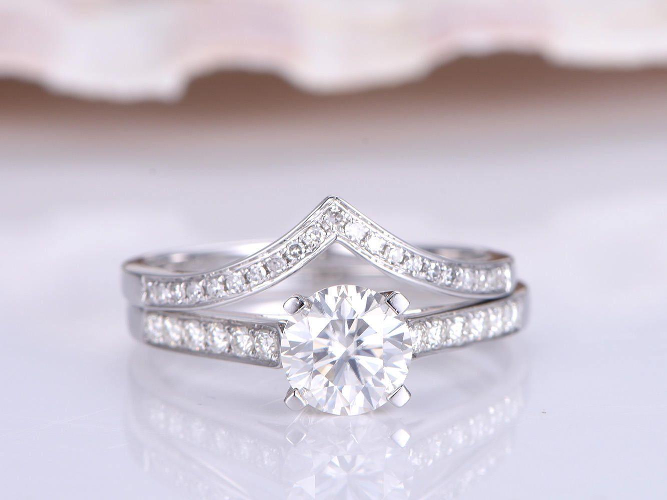 Moissanite engagement ring bridal ring set mm round cut forever