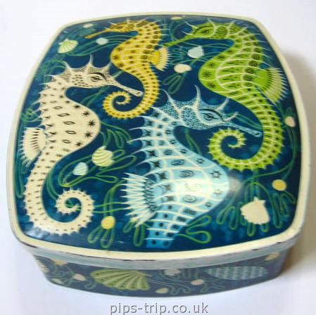 This is actually a cookie tin from the 50s, but I can't get over that amazing seahorse art! SO PRETTY.