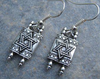 Torah Earrings Personalized Star Of David Scroll Hanukkah Jewelry Judaism