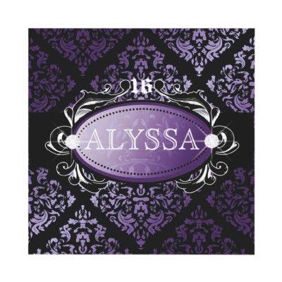 Luxuriously Purple Damask Sweet 16 on Zazzle