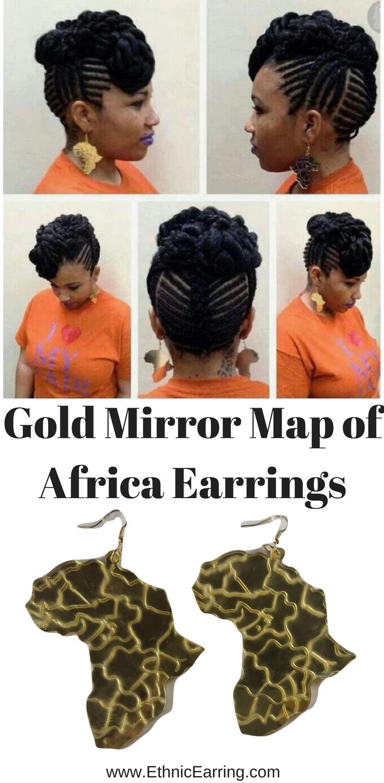 Africa shapedNatural hair gold mirror style Map of Africa Hoop Earrings