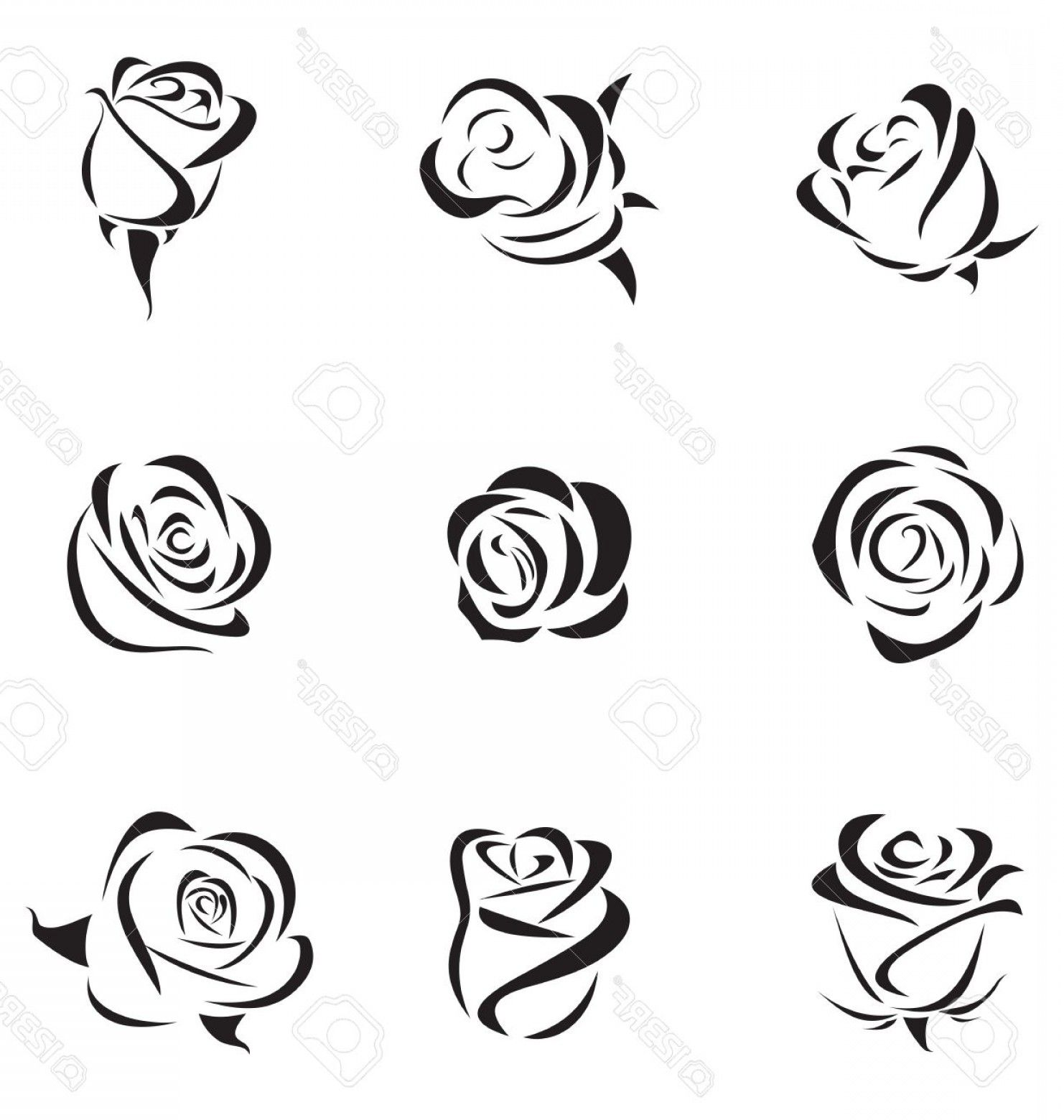 Simple Rose Silhouette Vector Photovector Illustration Of Outline Rose Set Rose Outline Roses Drawing Rose Drawing Tattoo