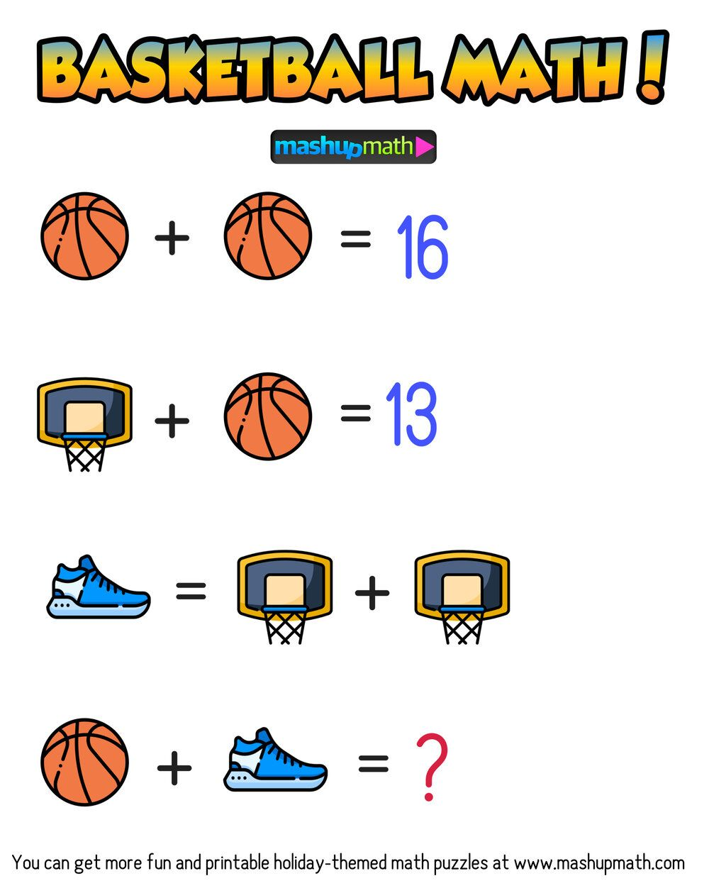 Are Your Kids Ready For These Basketball Math Puzzles Mashup Math Basketball Math Maths Puzzles Math Quizzes