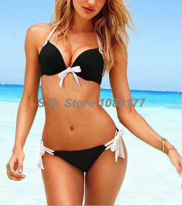 Black Add-2-Cups Halter Top Side-tie Bottom  Model 3007-Black Bikinis Swimwear $11.99