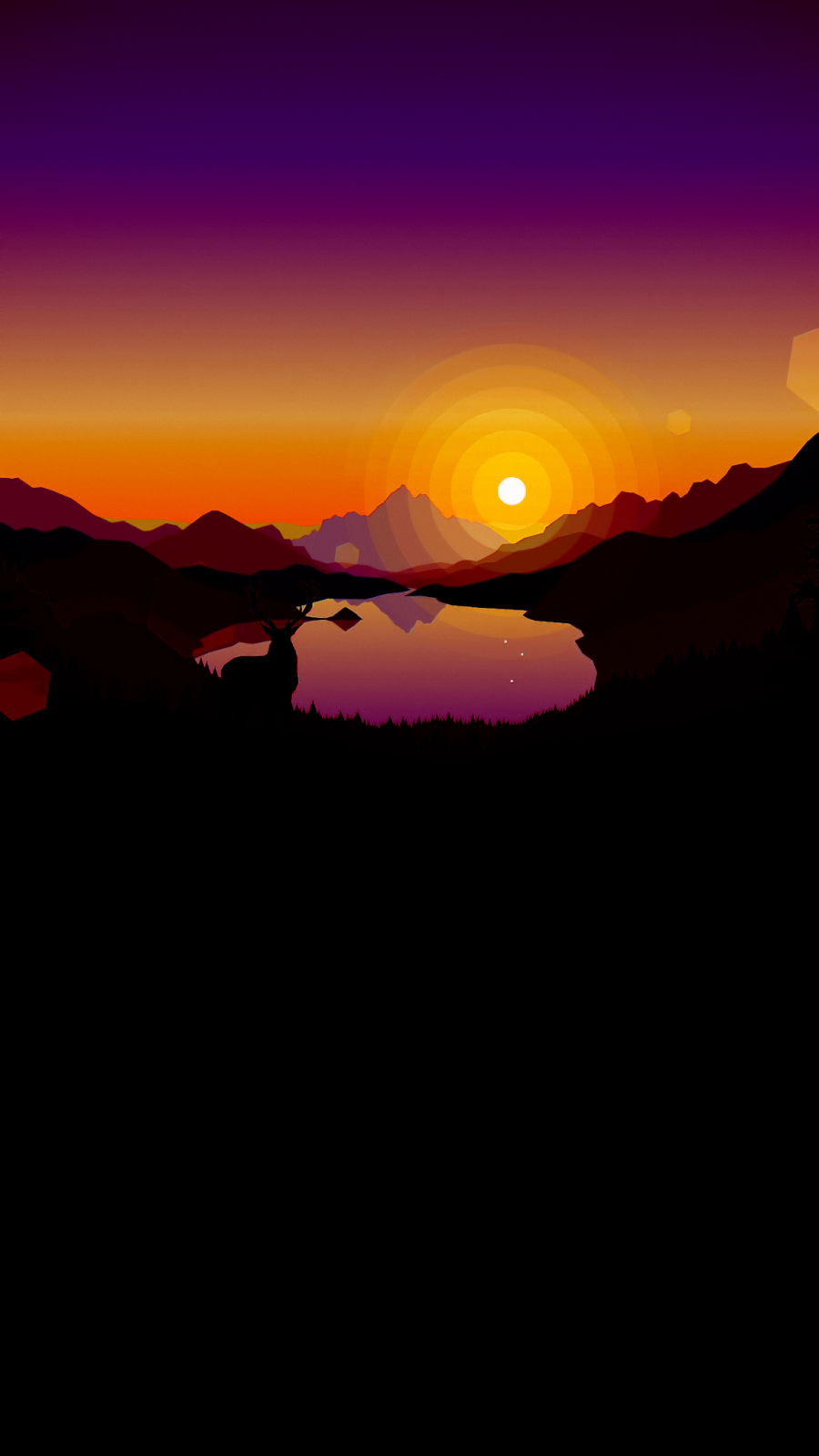 Firewatch Sunset lakeside Minimalist wallpaper phone
