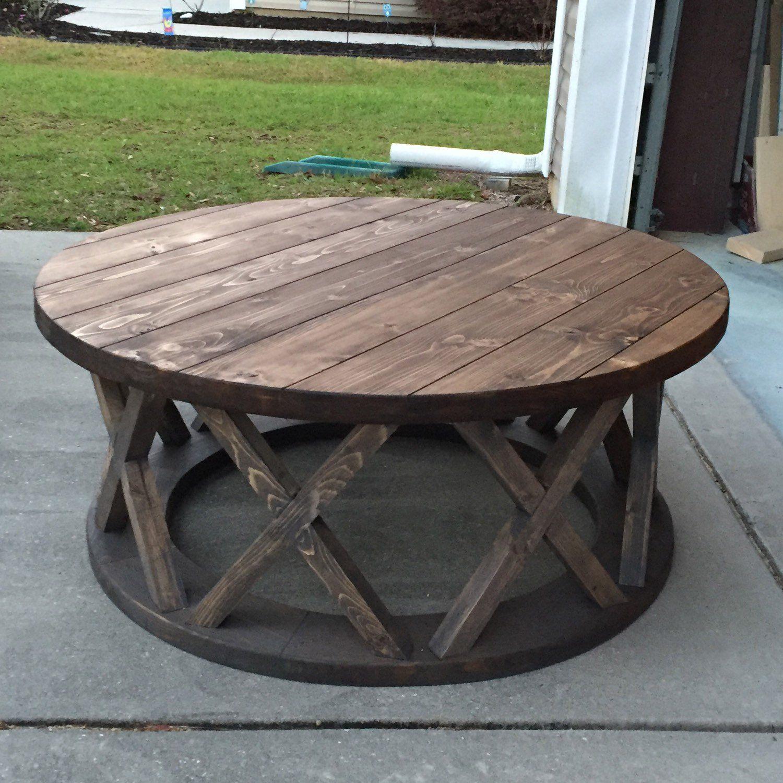 42 round rustic x brace coffee tables