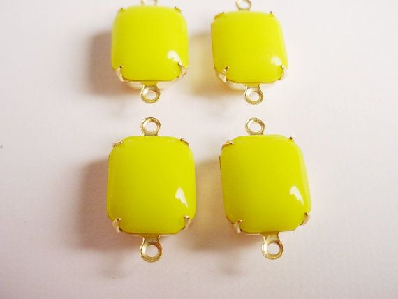 Vintage Yellow Octagon Stones in Brass Prong by brassgoldbeads