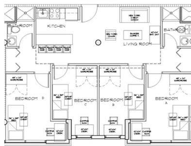 Floor plan rollinghills quad 393 301 rooming for Quad apartment plans