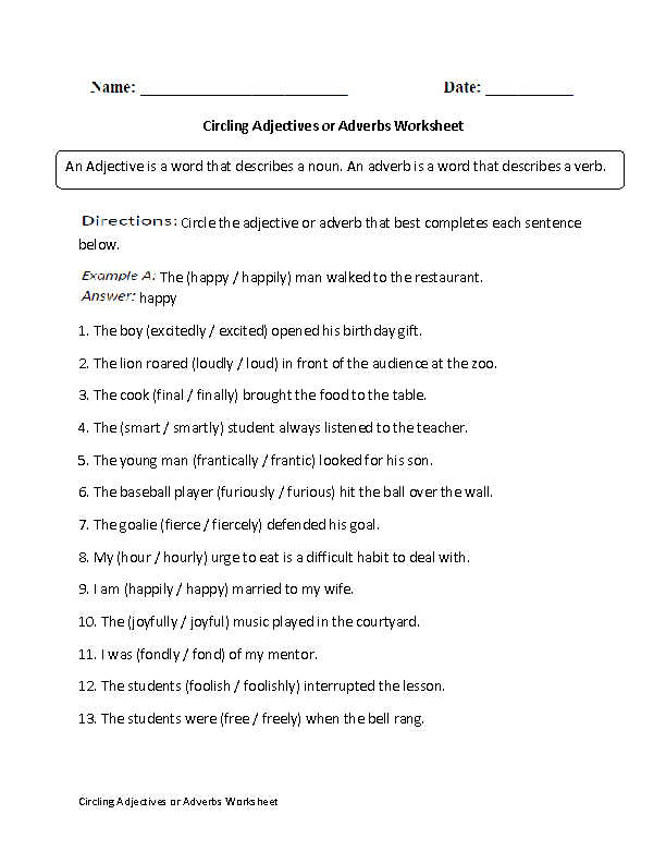 5th Grade adverbs worksheets 5th grade : Circling Adjectives or Adverbs Worksheet | X 5th Grade Grammar ...