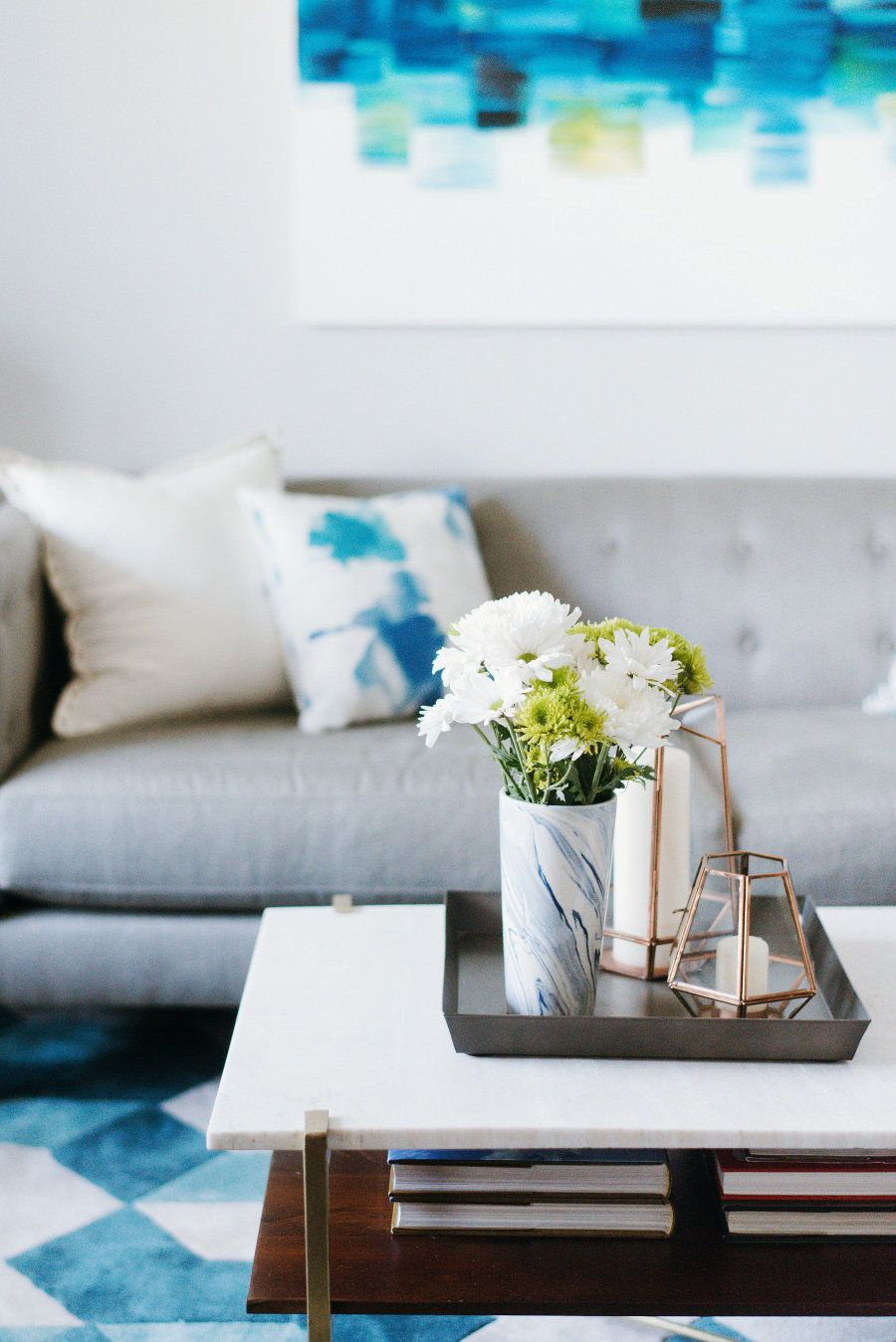 Modern living room marble vase with fresh