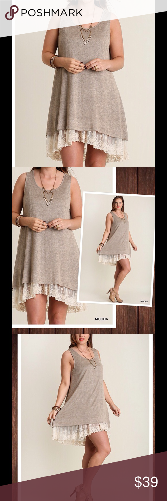 "Plus Size Dress Lace Extender XL 1X 2X Restock Wed Lined knit tank tunic dress with cream lace trim and high low hem. Transitional piece. Wear year round. Wear this with a denim jacket, kimono, heels, or boots. Super soft and comfy material 60% cotton and 40% polyester. We measure these in house so you get the right fit.  XL: 22"" from armpit to armpit. Length front 34"" and back 38""  1X: 23"" from armpit to armpit. Length front 34.5"" and back 38.5""  2X: 24"" from armpit to armpit. Length front…"