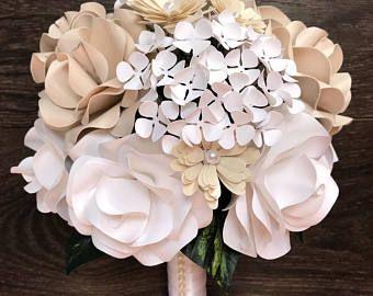 Blush paper flower bridal bouquet - white paper flower wedding ...