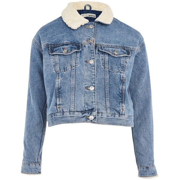 91096db171 Topshop Moto Cropped Denim Borg Jacket ( 79) ❤ liked on Polyvore featuring  outerwear