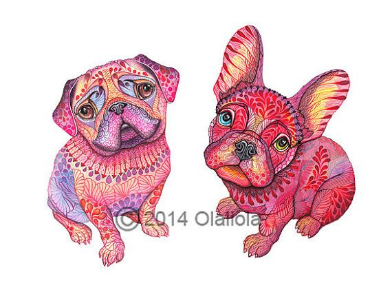 Pug and French Bulldog dogs pet high quality art print por TevaKiwi