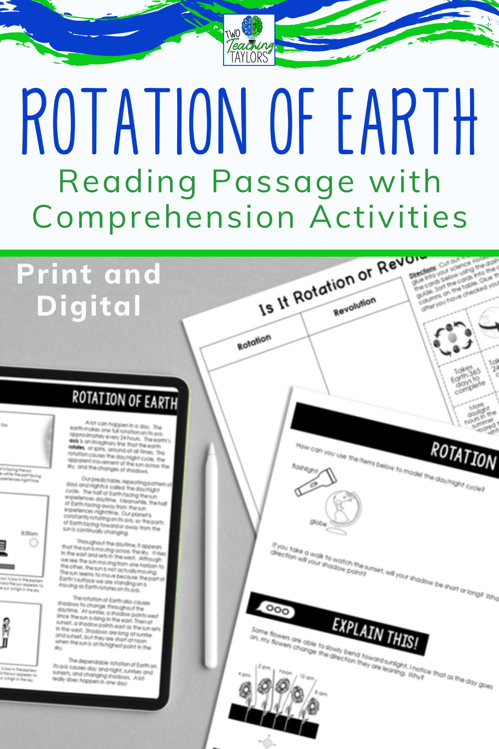 Rotation Of Earth Reading Passage With Comprehension Activities Elementary Science Classroom Reading Passages Upper Elementary Science [ 1500 x 1000 Pixel ]