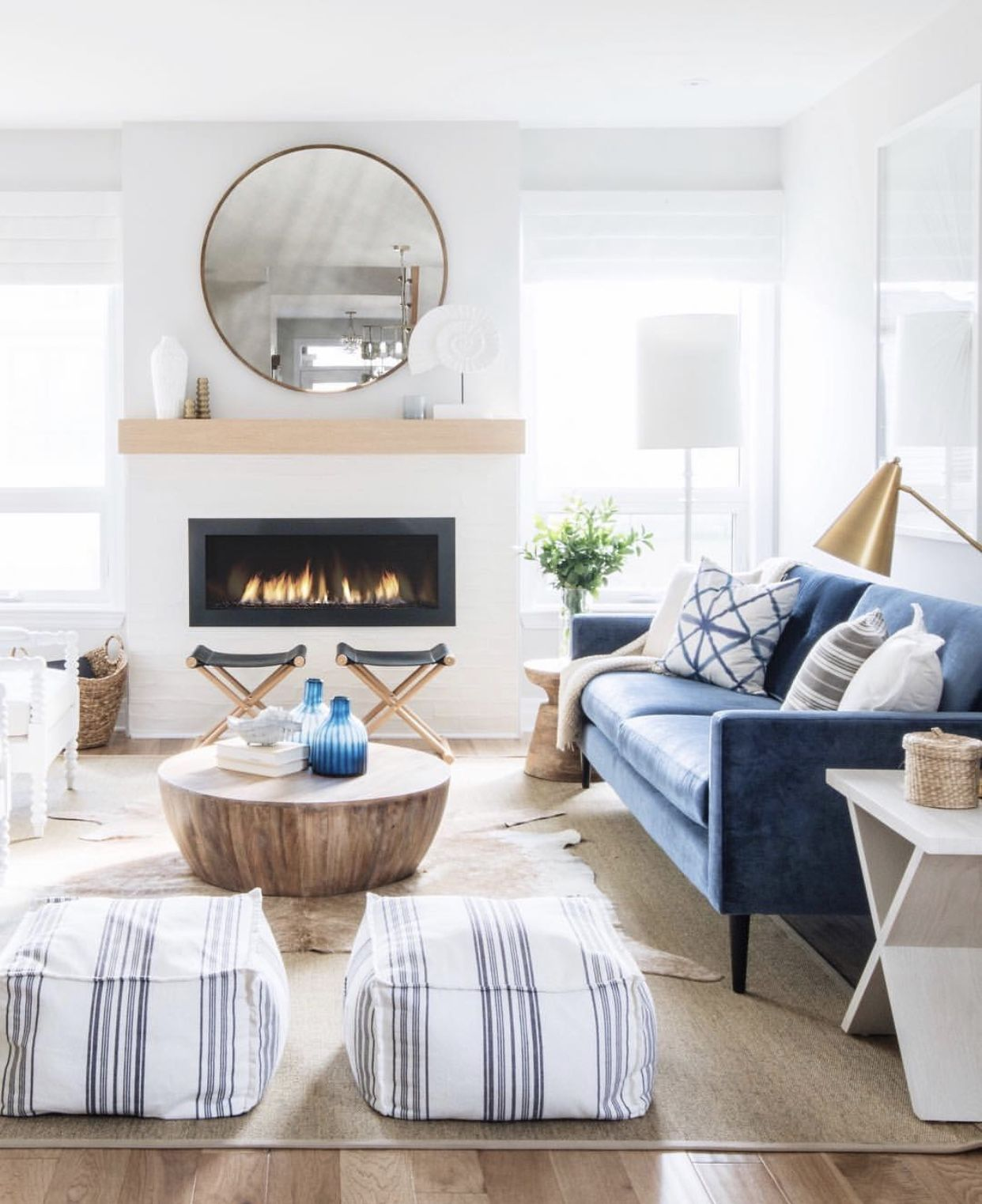 I M In Love Boho Coastal Farmhouse Living Room With Blue Couch Navy Director S Stools Navy Blue Couch Living Room Farm House Living Room Blue Couch Living