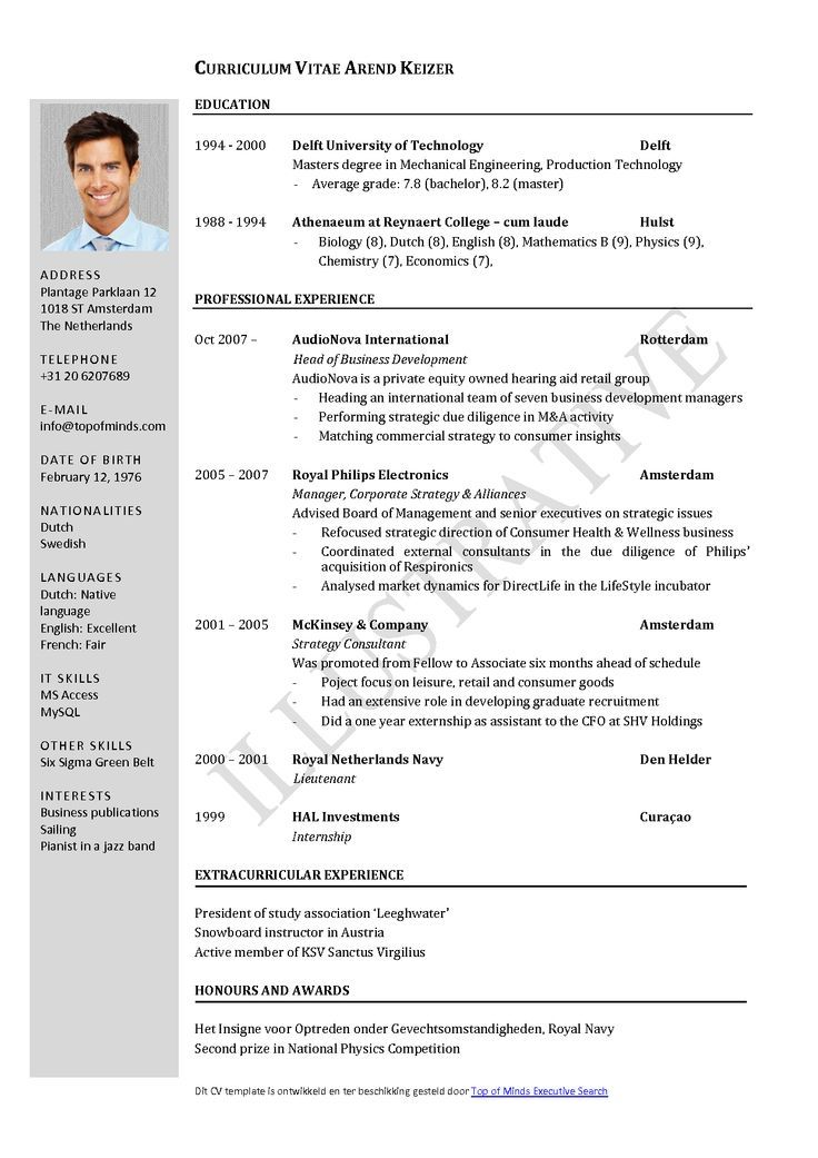 Free Curriculum Vitae Template Word Download CV template When I – Curriculum Vitae Format