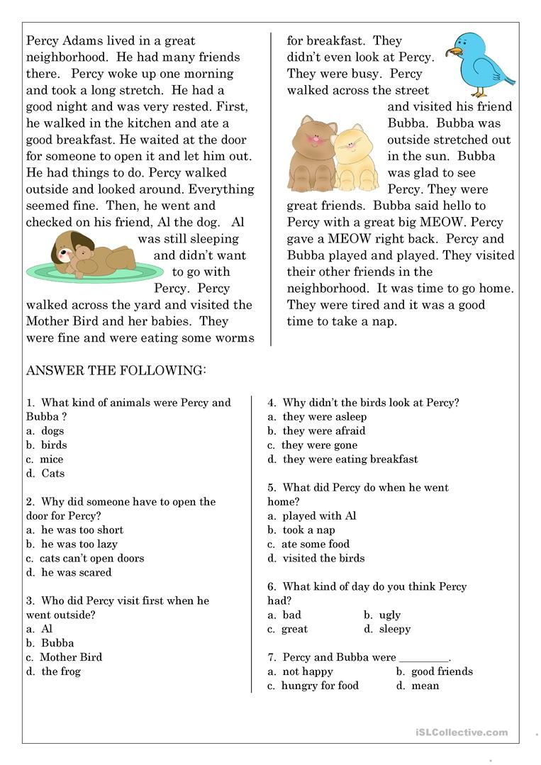 Reading Comprehension For Beginner And Elementary Students 6 English Esl Reading Comprehension Lessons Reading Comprehension Reading Comprehension Worksheets [ 1079 x 763 Pixel ]