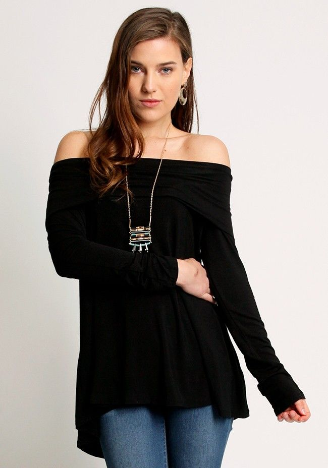 Black off shoulder top with rolled neckline and long sleeves, Unlined.