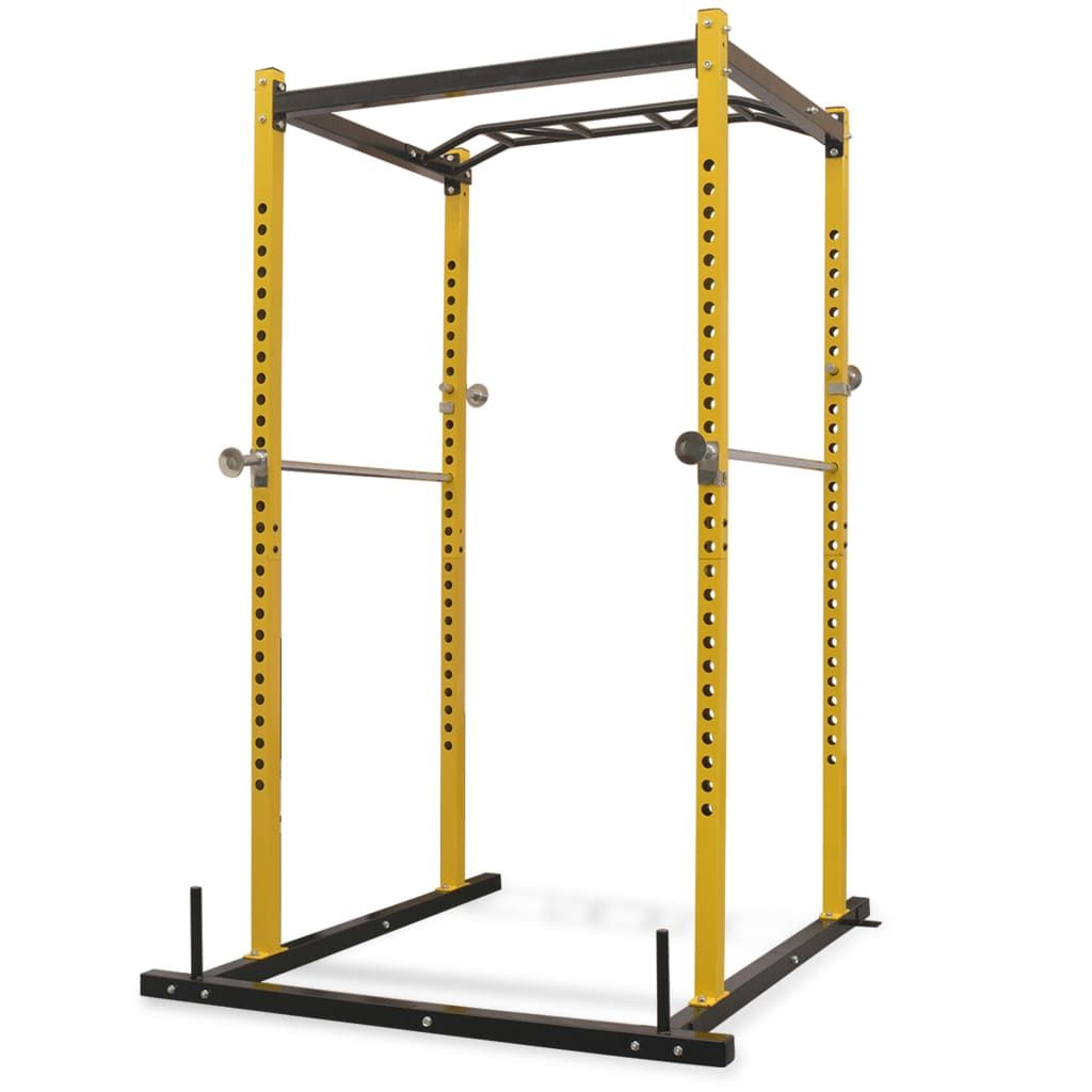 This heavy-duty multipurpose power rack will help you work out safely and efficiently while performing squats, dips and pull-up exercises. This fitness power tower measures 140 cm in width, 145 cm in depth and 214 cm in height, which allows for a multitude of different exercises. #workout #powerrack #powertower #fitnessequipment #fitness #homegyequipment #homegym
