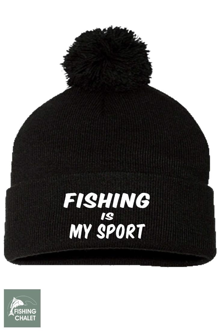 Fishing Is My Sport Pom Pom Knit Cap  69f0f72837b