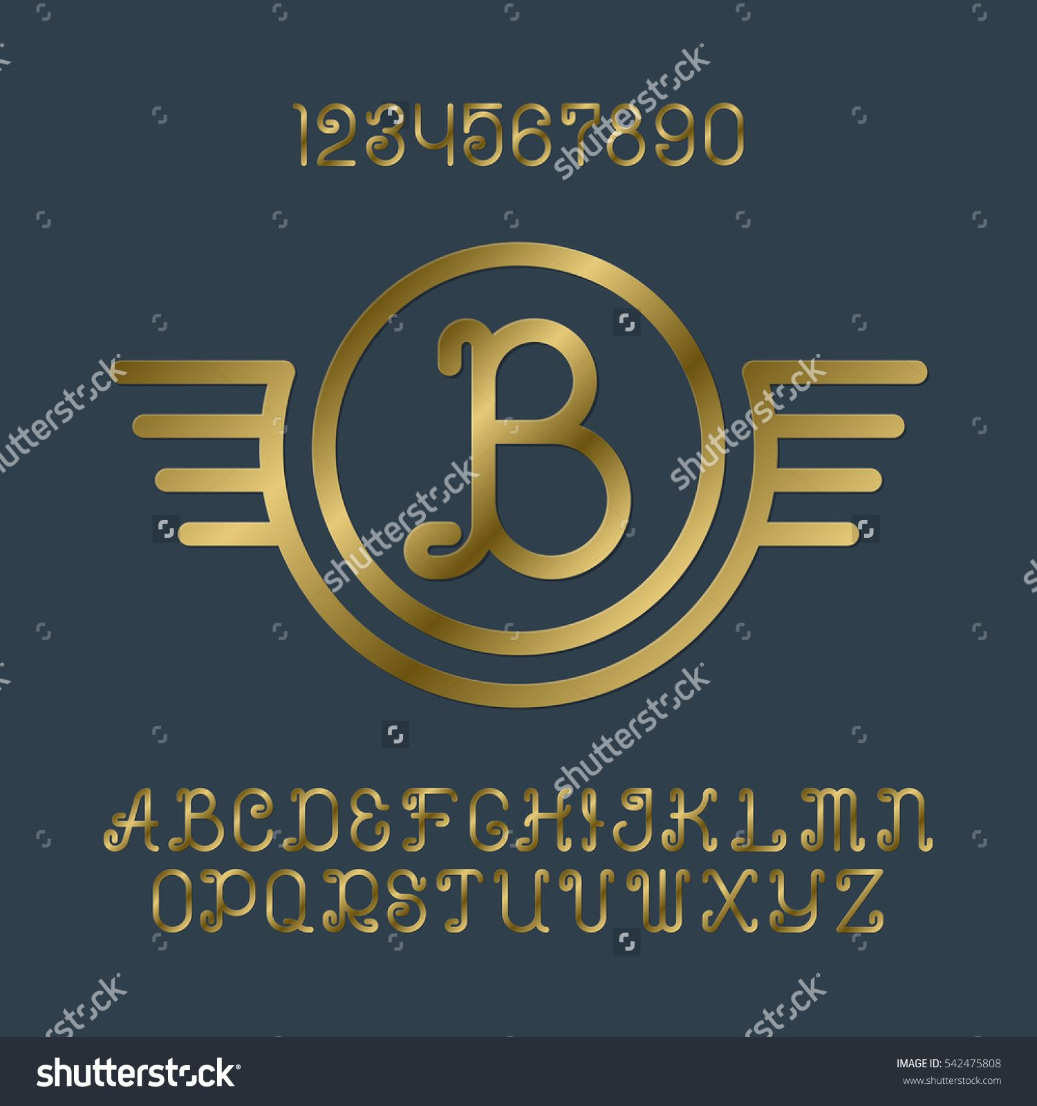 Beautiful golden curly #letters and numbers with initial #monogram ...