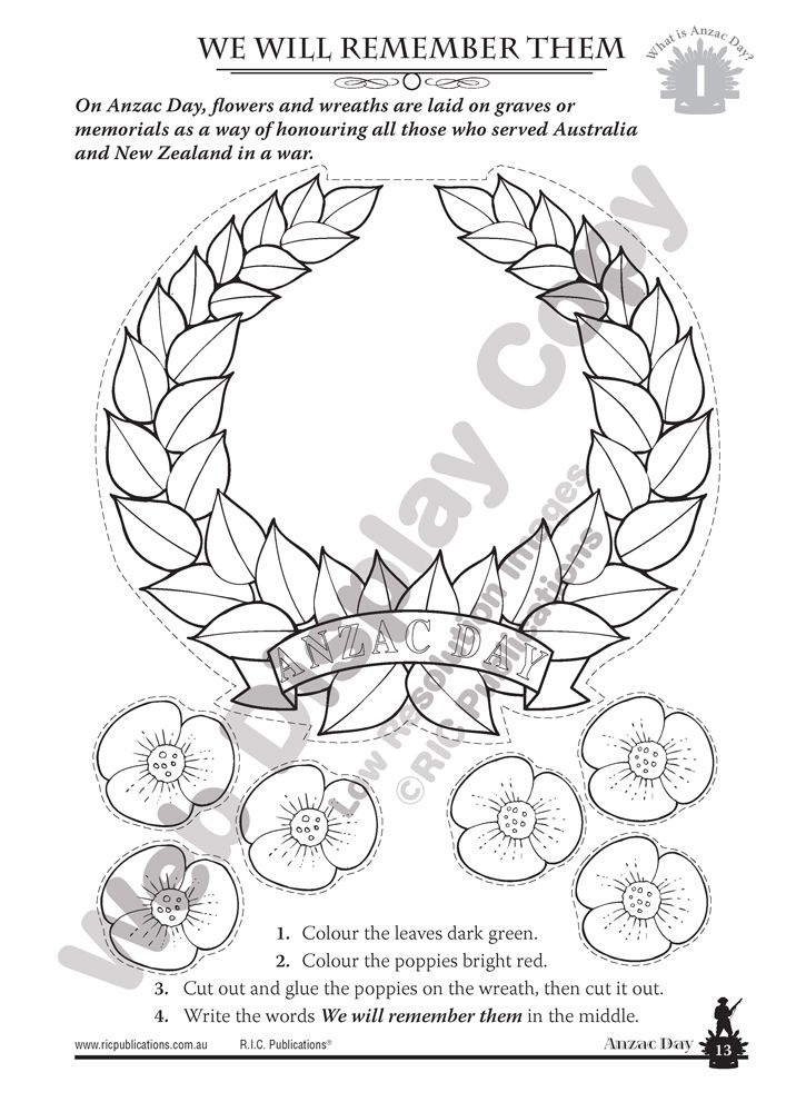 Anzac Day craft for kids. Poppy wreath. Australian History