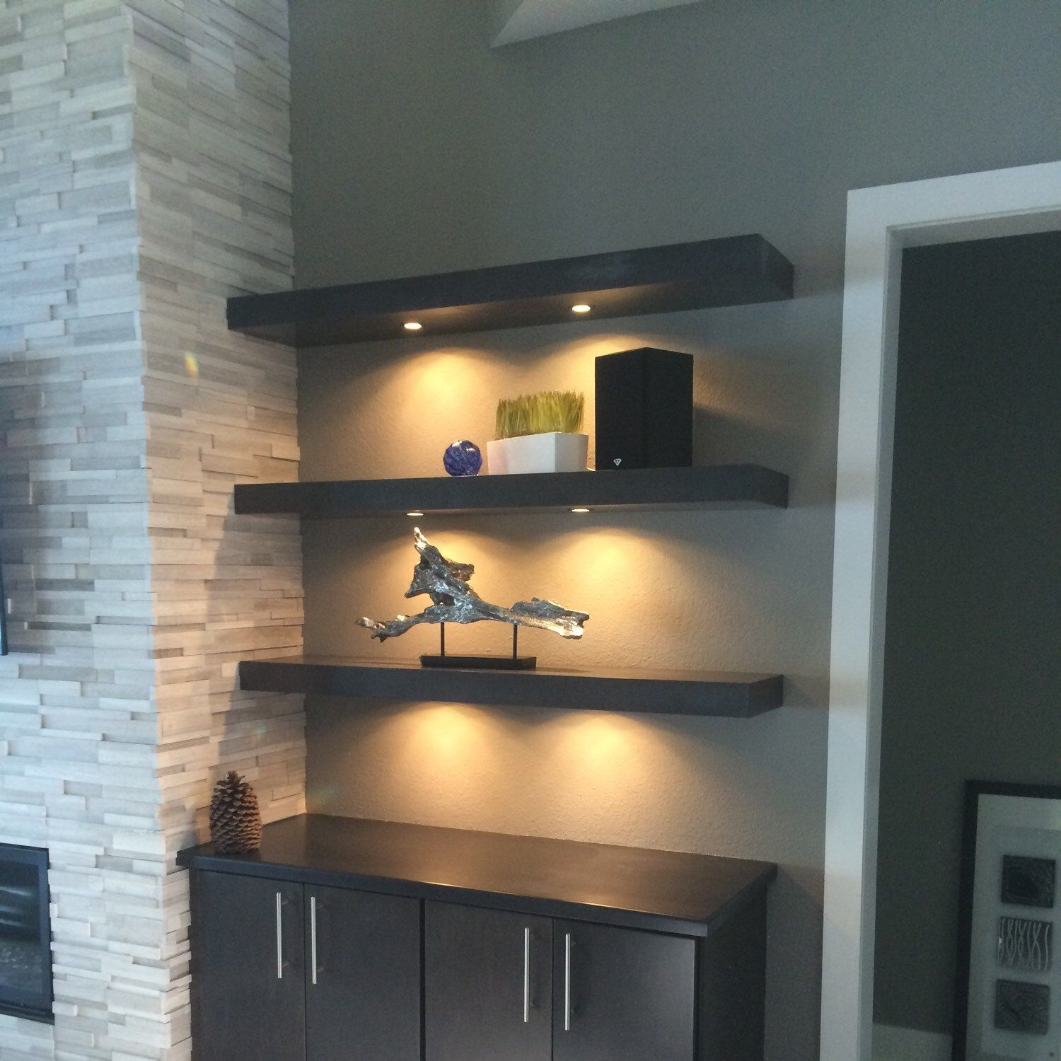 Pin By Diane Stroner On Legion Floating Shelves With Lights Floating Shelves Floating Shelf Decor