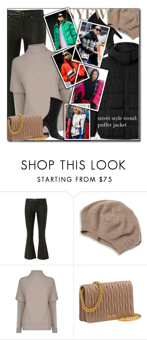 """NYFW: The Puffer Jacket"" by arethaman ❤ liked on Polyvore featuring Kane, rag & bone, Portolano, Victoria Beckham, Miu Miu, GetTheLook, StreetStyle, NYFW, winterstyle and pufferjacket"