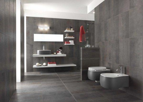 modern bathroom colors ideas photos. Modern Bathroom Colors Trendy Gray Wall And Floor Tiles Red Accents Floating Shelf Ideas Photos S