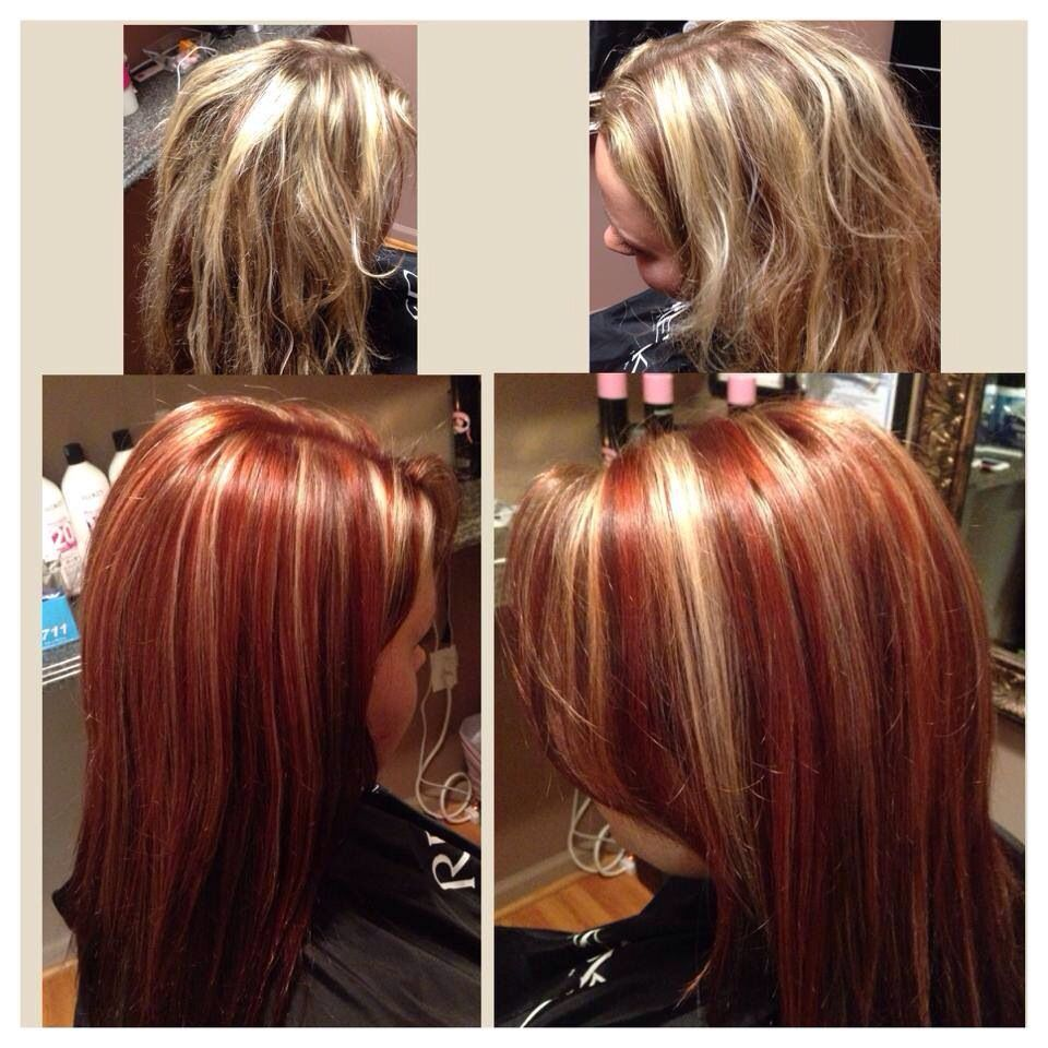 Blonde To Red Before And After Fall Color Red Haircolor