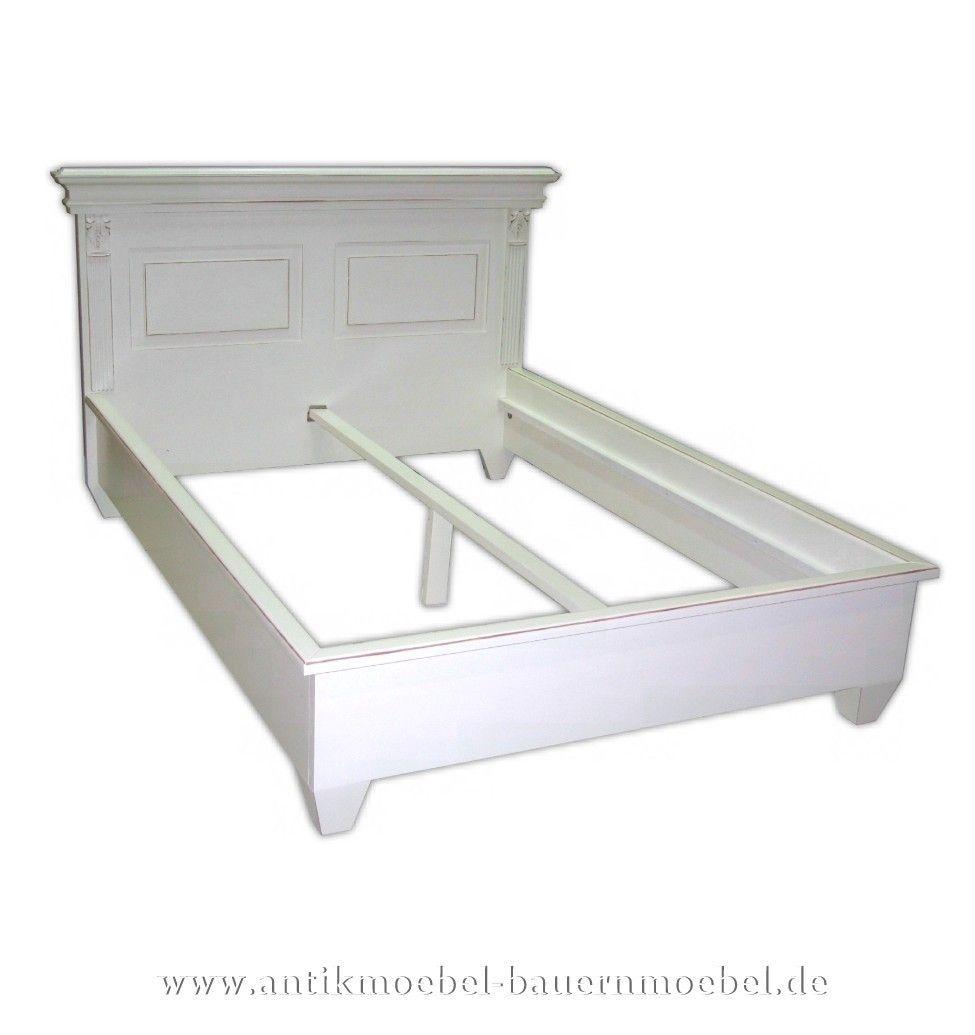 Bett Doppelbett Bettgestell 140x200 weiß Massivholt