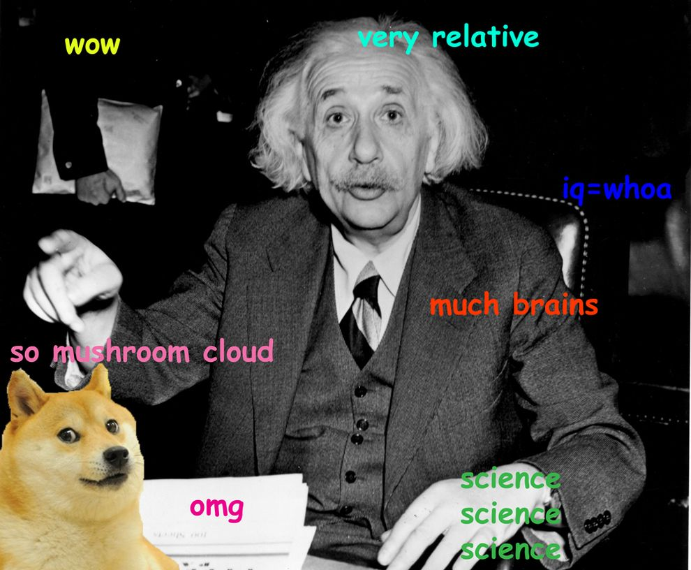 14 Iconic Pieces Of History Made More Wow With Doge Einstein Albert Einstein Doge Meme