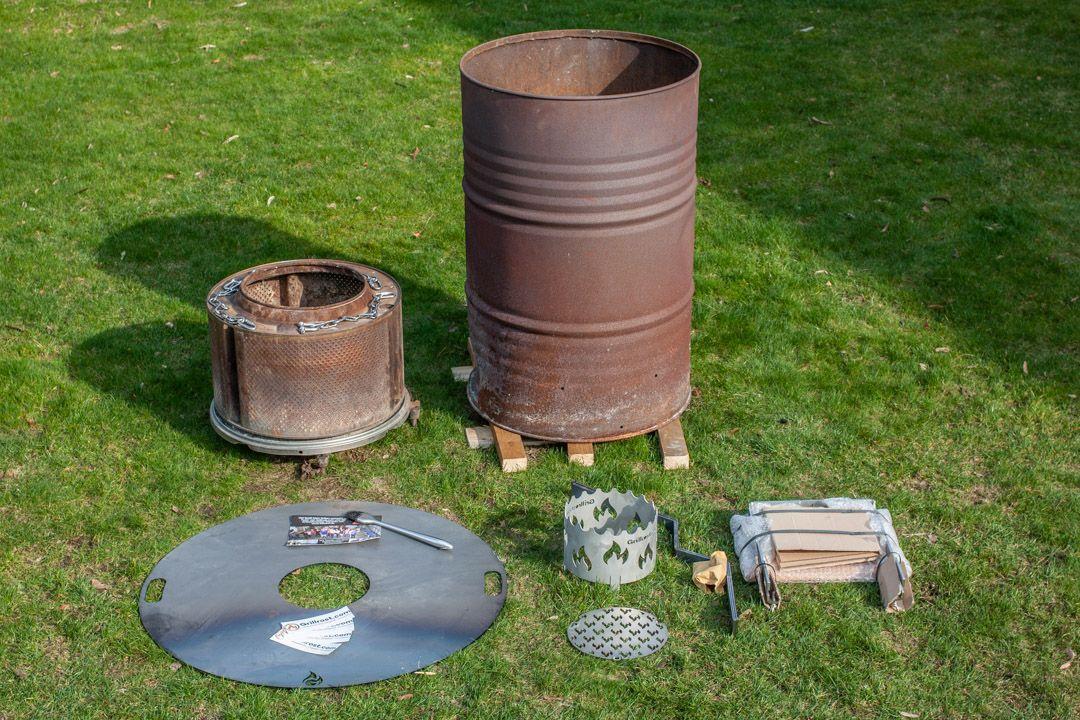 Aufbau einer Feuertonne mit Feuerplatte