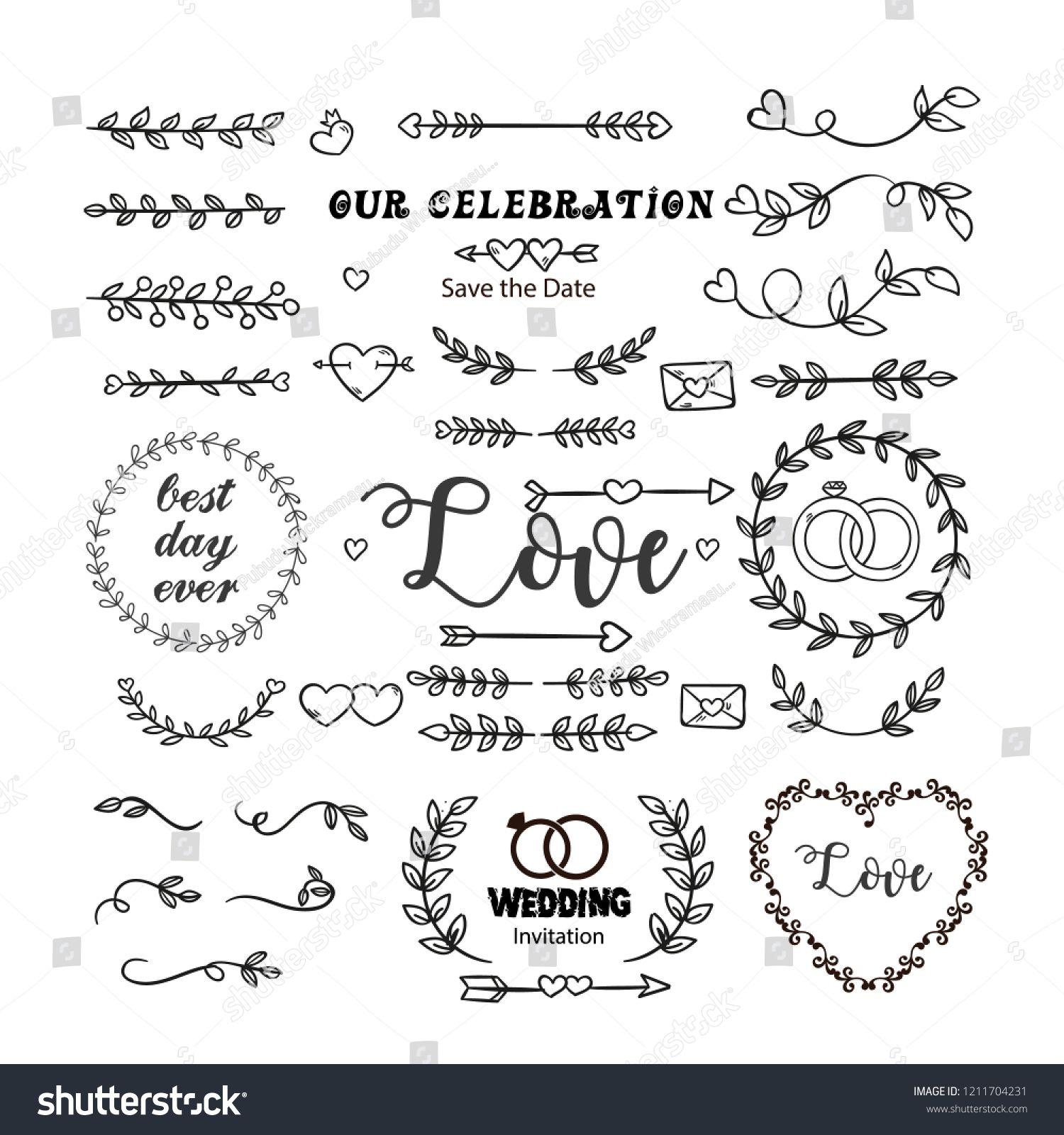 Hand Drawn Wedding Ornaments Abstract Vector Icon Set Wedding Ornaments Hand Drawn Hand Drawn Wedding Icon Set Vector Icon Set