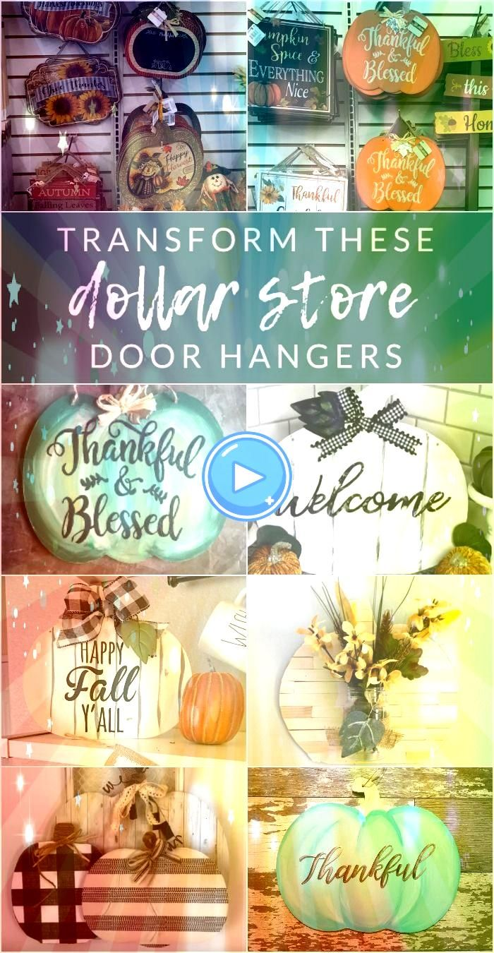 these dollar store door hangers  Grab a few pumpkin signs from Dollar Tree and lets get crafting Transform these dollar store pumpkin door hangers into completely custom...