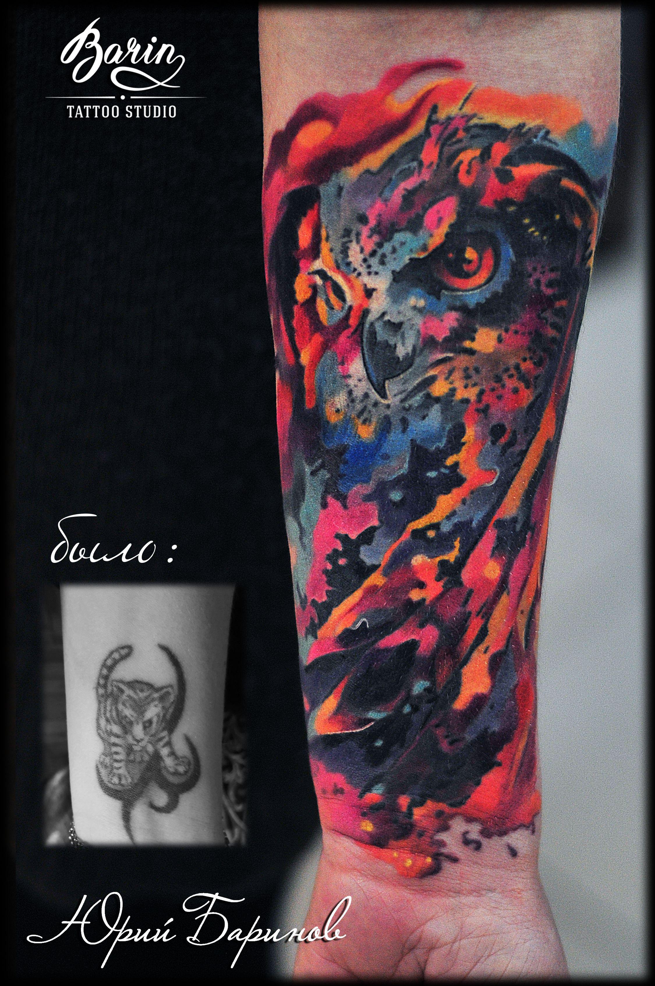 татуировка космическая сова перекрытие некачественной татуировки