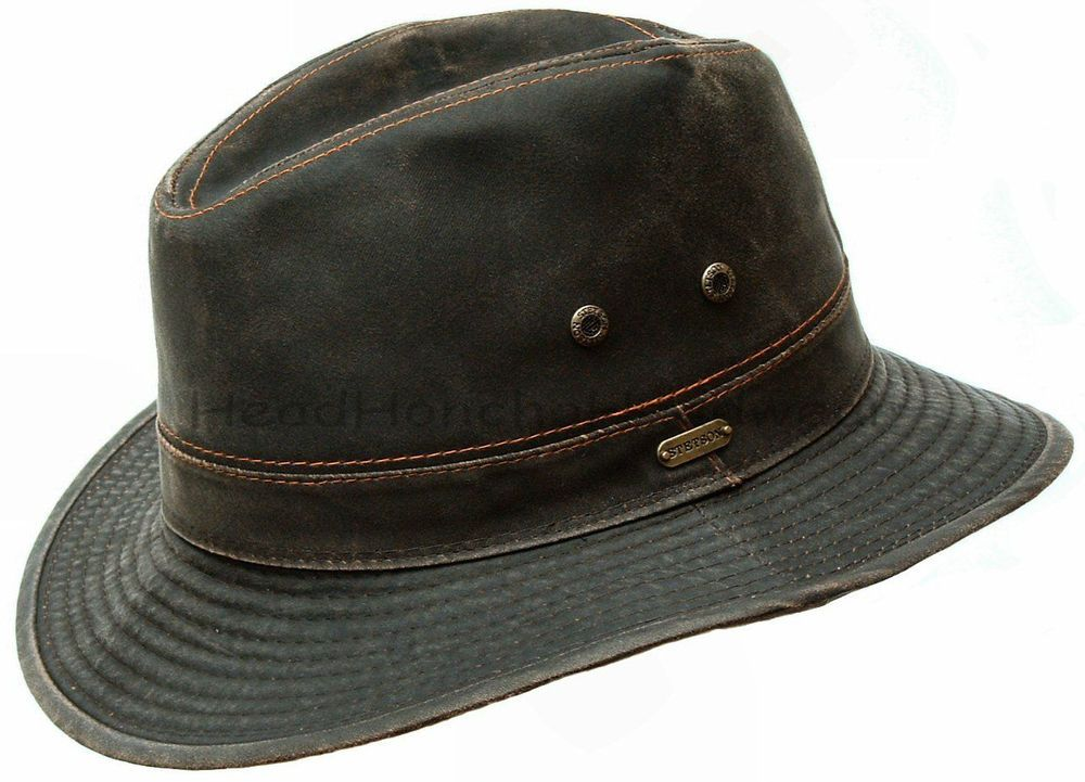 STETSON Mens Cotton Safari Outback Hat Brown Cowboy Fedora Hunting Bush Cap   Stetson  OutbackSafari a7138290fc8