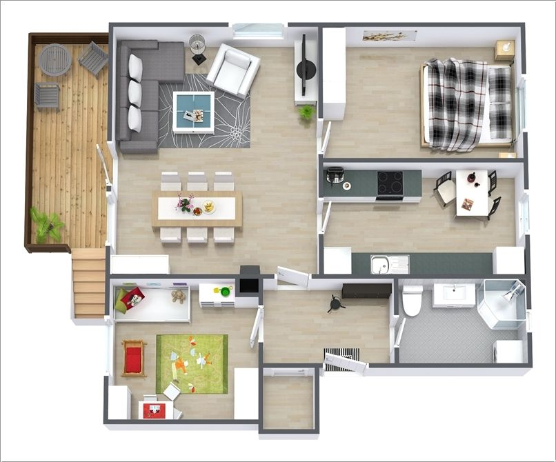 10 Awesome Two Bedroom Apartment 3D Floor Plans Part 35