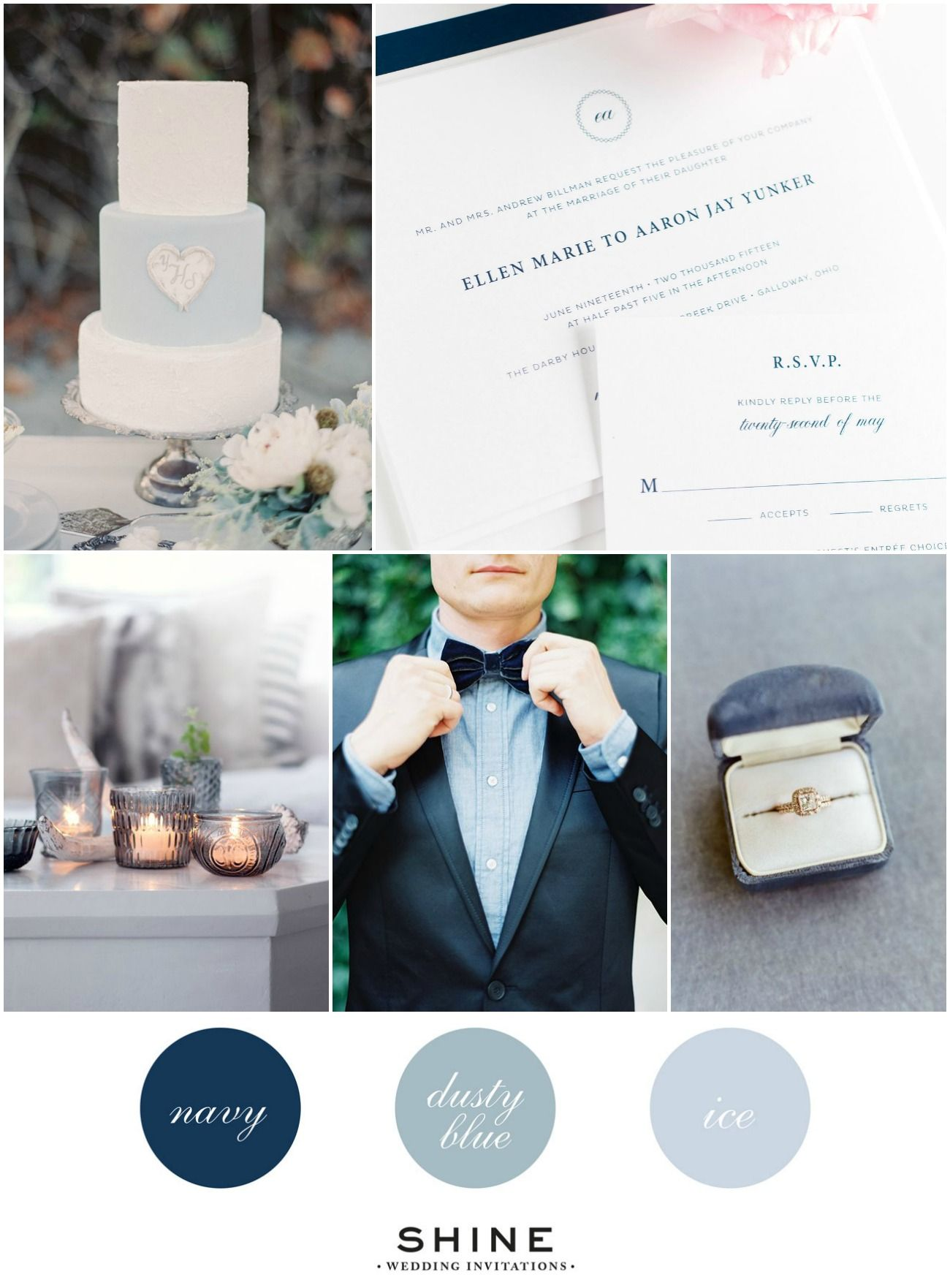 Blue Hues Wedding Inspiration | Dusty blue, Wedding and Blush color ...
