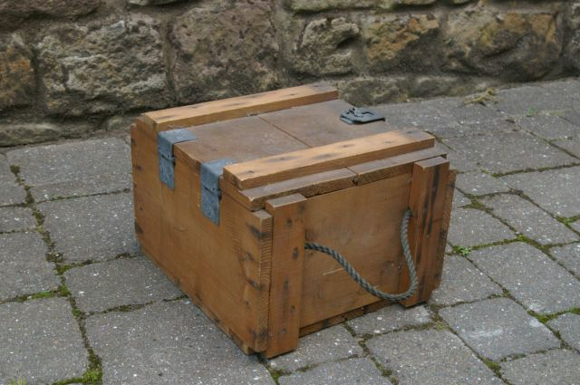 Vintage Wooden Ww2 Ammunition Ammo Box Measurements Are 13in X 13in