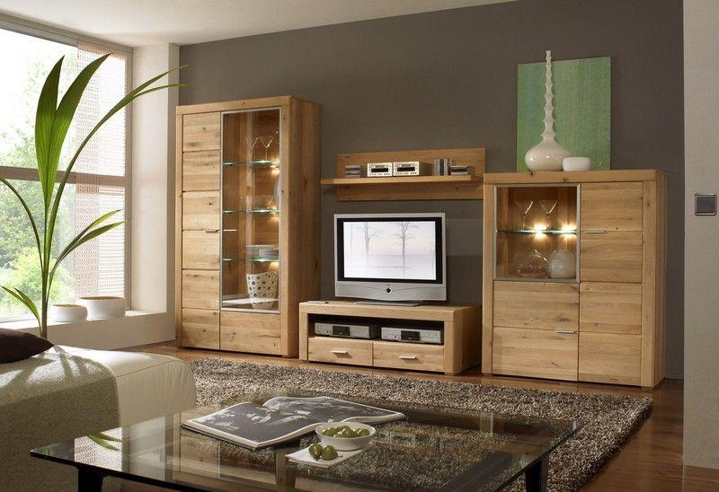 etna wohnwand 4 tlg anbauwand eiche massiv lackiert wohnen m bel g nstig kaufen. Black Bedroom Furniture Sets. Home Design Ideas