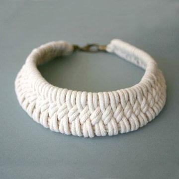 Como Hacer Collares Tejidos Con Puntos Basicos Como Hacer Collares Tejidos Collar Hecho Punto Collares Tejidos