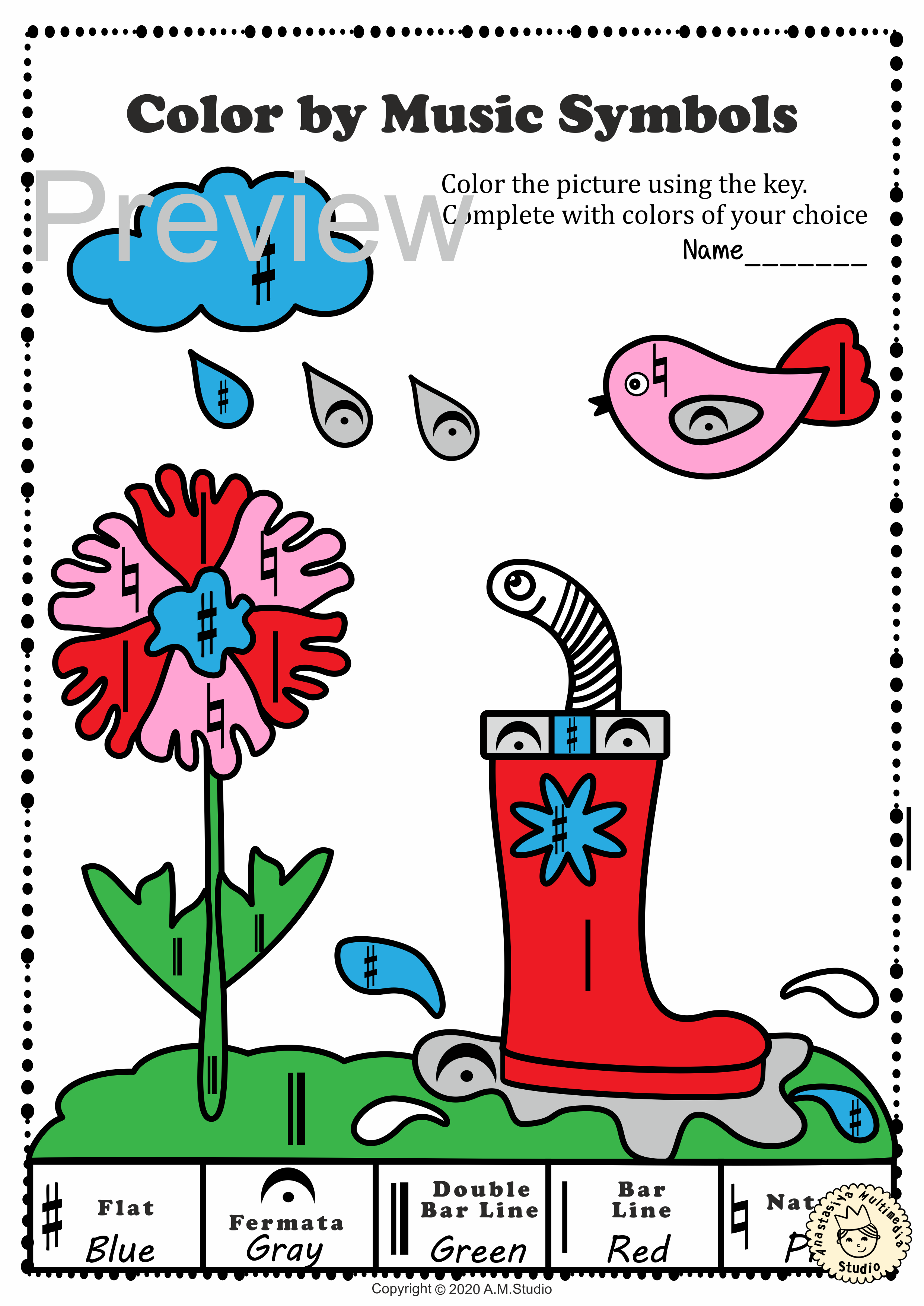 Musical Coloring Pages For Spring Color By Music Symbols