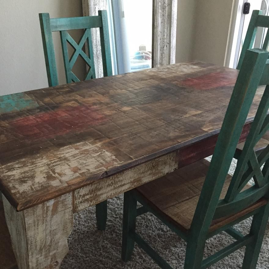 Bombay Rustic Turquoise Dining Table Set With 4 Chairs 2 Matching Bar Stools Made